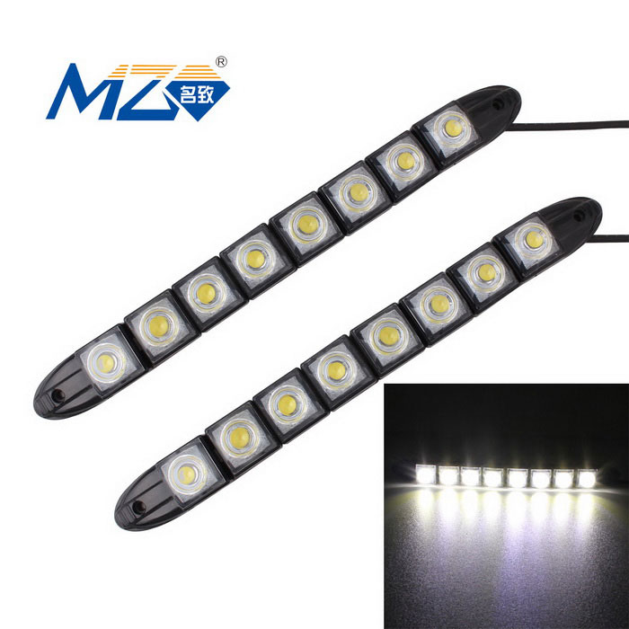 MZ 4W Flexible 8-SMD LED Car Daytime Running Light - Black (2PCS)