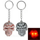 Crazing Skull Head Shaped LED Key Ring Keychains w/ Red Light - Grey + Pink (2 x AG13 / 2 PCS)