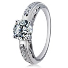 Women's Fashionable Zircon Inlaid 925 Sterling Silver Ring - Silver (US Size: 8)