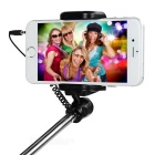3.5mm All-in-One Wired Retractable Handheld Selfie Rod w/ Clip - Black