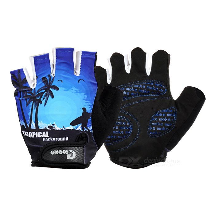 MOke Sweat-Absorbing Anti-Shock Half-Finger Gloves - Black + Blue (L)