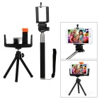 Universal Tripod + Selfie Rod w/ E-Type Clip Set for Cellphone - Black + Silver