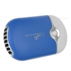 Portable USB 2.0 Rechargeable Mini Air Conditioning Fan w/ Strap - Blue + White