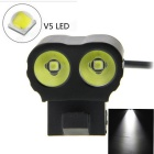 XP-L V5 2-LED 2000lm 5-Mode Cool White Bike Light / Bicycle Lamp - Black + Light Green