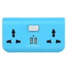 Dual-Port USB EU Plug Adapter Charger w/ 2 x Power Sockets for Cellphone / Tablet PC - Light Blue