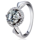Women's Fashionable Zircon Inlaid S925 Sterling Silver Ring - Silvery White (US Size: 8)