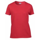 Women's Simple Short-Sleeved Round Neck Plain T-Shirt - Red (Size L)