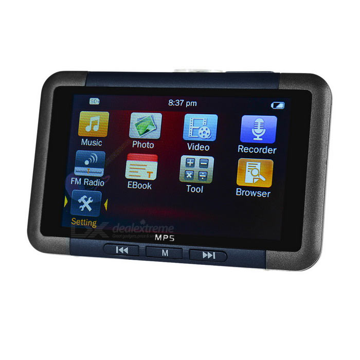 "3.0"" Mirror Screen MP4 MP3 MP5 Player w/ TF, FM, 8GB - Black + Blue"