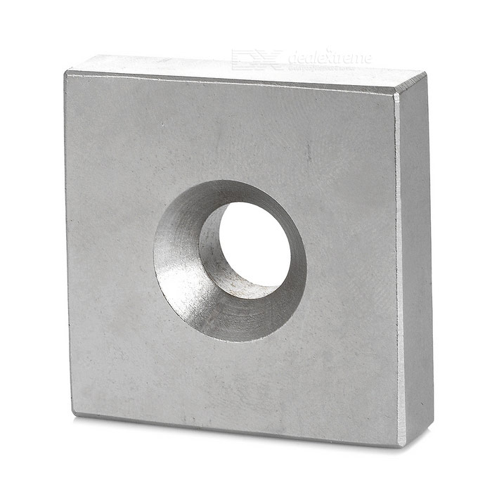 40*40*10mm Square Shaped Single Hole NdFeB Magnet - Silver