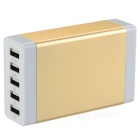 5-USB Aluminum Shell Charger Adapter for Samsung, IPHONE + More - Champagne Gold (US Plug)