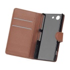 PU Case w/ Stand & Card Slots for Sony Z3 MINI - Brown + White (2PCS)