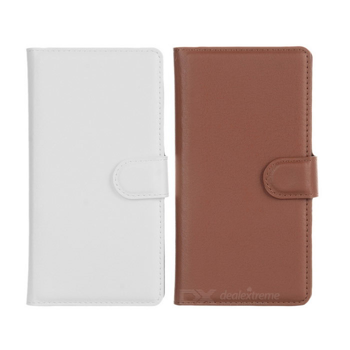 PU Cases w/ Stand, Card Slots for Sony M4 AQUA - White + Brown (2PCS)