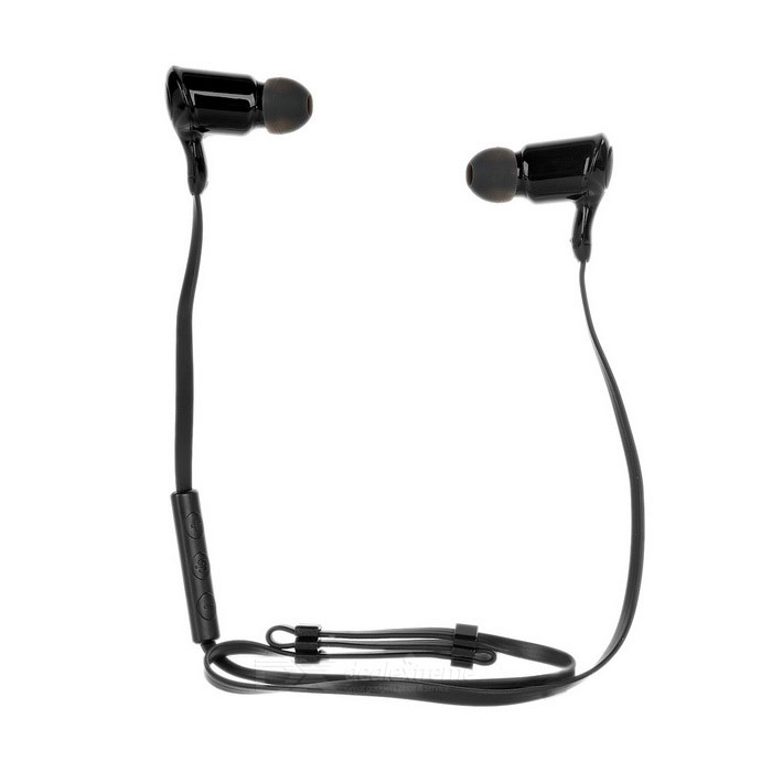 En el oído bluetooth v4.0 auriculares w / mic para iphone, MP3 / 4 - negro