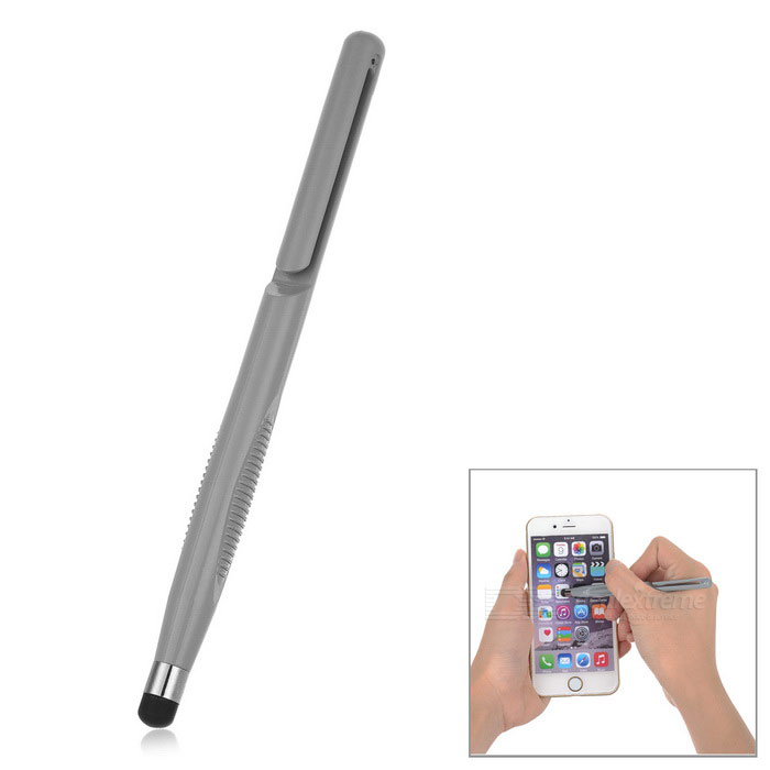 Universal ABS + Silicone Phone Screen Touch Pen Stylus w/ Clip - Grey