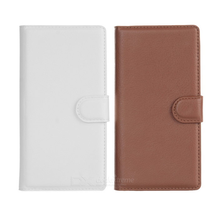 PU Case w/ Stand, Card Slots for Sony Xperia Z3 - White + Brown (2PCS)