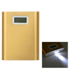 "Universal 4450mAh Li-ion Battery Mobile Power Bank w/ 1"" LCD Capacity Display & Flashlight - Golden"
