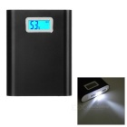 Universal 4700mAh Li-ion Battery Mobile Power Bank w/ LCD Capacity Display & Flashlight - Black