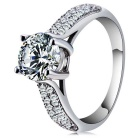 S925 Silver Platinum Semi Micro Four Claws Zircon Inlaid Ring - Silvery White (US Size 8)