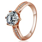 Rshow Fashionable S925 Silver Zircon Inlaid Finger Ring for Women - Champagne Gold (US Size 8)