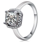 Rshow Women's S925 Silver Zircon Inlaid Finger Ring - White Gold (US Size 8)