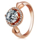 Rshow Fashionable S925 Silver Zircon Inlaid Round Finger Ring for Women - Champagne Gold (US Size 8)