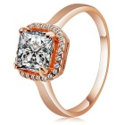 Rshow Fashionable S925 Silver Square Zircon Inlaid Finger Ring for Women - Champagne Gold (Size 8)