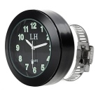 Handlebar Mounted Glow-in-the-Dark Clock for Motorcycle - Black