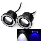 Marsing 30W LED Fog Lamp Cool White 7000K 1200lm w/ Blue Angel Eye for Car - Black (DC 9~15V / 2PCS)