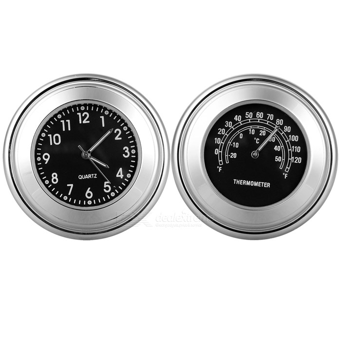 Motorcycle Handlebar Clock + Thermometer Set for Harley &amp; More - BlackOthers<br>Form ColorBlack + SilverQuantity1 DX.PCM.Model.AttributeModel.UnitMaterialAluminum alloyTypeOthers,Clock + thermometerWaterproof FunctionYesInterfaceOthersOther FeaturesSuitable for handlebar diameter: 22~25mmPacking List1 x Clock1 x Thermometer2 x Wrenches2 x Spacers<br>