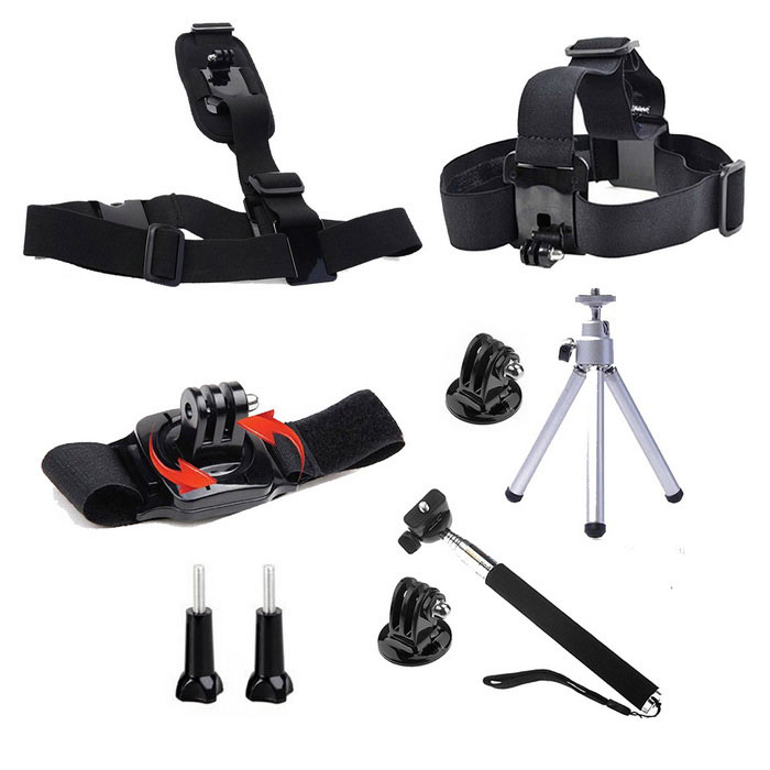 9-in-1 Sports Accessories Kit for GoPro, SJ4000, SJ5000 - BlackOther GoPro Accessories<br>Form ColorBlack + Silver + Multi-ColoredQuantity1 DX.PCM.Model.AttributeModel.UnitMaterialPlasticShade Of ColorBlackOther FeaturesSuitable for Gopro Hero 4 / 3+/ 3 / 2 / SJ4000/5000/6000.Packing List1 x Headband1 x Chest strap1 x 360 Wrist strap1 x Self-timer lever (7-section; 22cm~105cm)1 x Tripod2 x Tripod mount adapters2 x Long screw bolts<br>