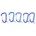 Carabiner Style Aluminium Alloy Keychains - Blue + Silver (5PCS)