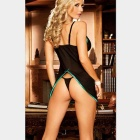 Women's Perspective Mesh Strap Sexy Lingerie Dress - Black + Green