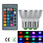 E27 3W IR Remote Control 3-Color Change RGB LED Ball Bulb (85~256V / 3 PCS)