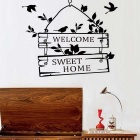 """Welcome to Sweet Home"" Water Resistant Removable PVC Wall Sticker Decal - Black"