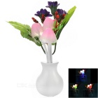 Chrysanthemum Style 0.2W Light Control 3-LED Nightlight Warm White - Purple + White (AC 220V)