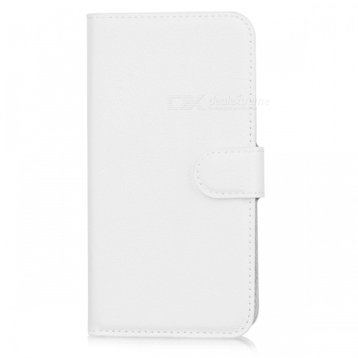Litchi Pattern Flip-Open PU Case w/ Card Slots for Sony Z3 - White