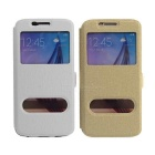 Protective PU Case w/ Stand / Dual Viewing Window for Samsung S6 - Golden + White (2 PCS)