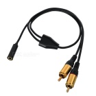 3.5mm Female to 2-RCA Male Extension Cable - Black + Golden (52cm)