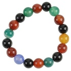 11mm Women's Colorful Agate Beads Bracelet - Black + Red + Multicolor