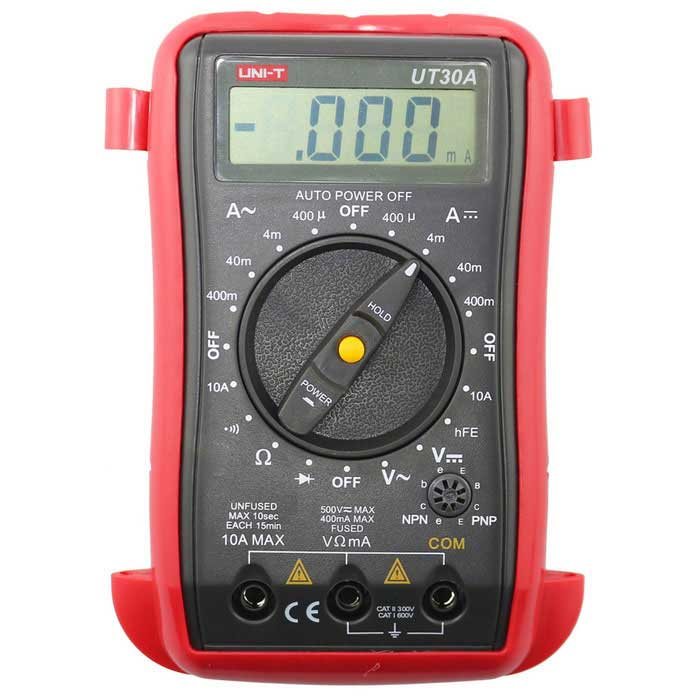 UNI-T UT30A Palm-Size Digital Multimeter - Red + Gray (2*6F22)