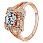 Rshow Women's S925 Silver Zircon Inlaid Finger Ring for Women - Champagne Gold (US Size 8)