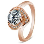 Women's Fashion Heart Design Zircon Inlaid S925 Silver Ring - Champagne Gold (US Size 8)