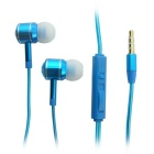 3.5mm In-Ear Wired Metal Earphones w/ Remote Control / Mic. for Cellphone - Blue (1.2m-Cable)
