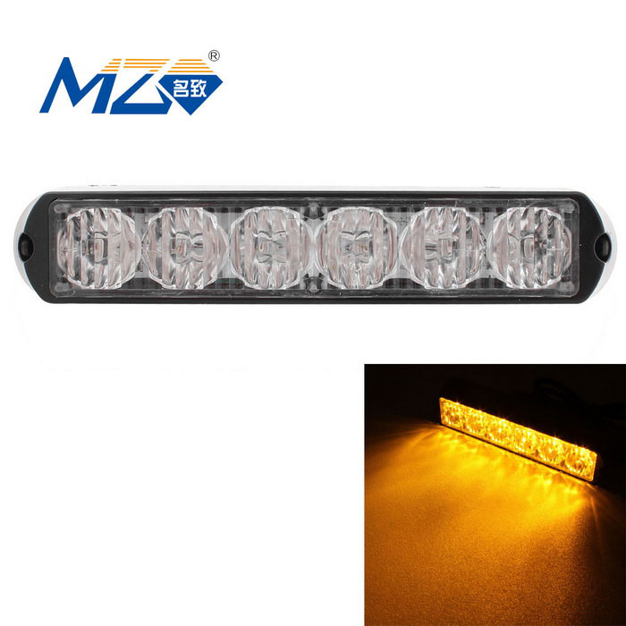 MZ cableado 18W amarillo 6-LED coche luz de advertencia señal de advertencia - negro