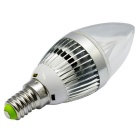 JIAWEN E14 3W 3-LED Dimmable Ball Steep Lamp Warm White Light - Silver