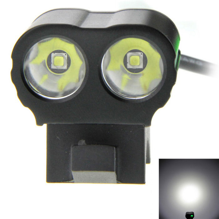XP-G2 R5 2-LED 900lm 5-Mode White Bike Light Lamp - Black + GreenBike Lights<br>Form  ColorBlack + Jade GreenModelN/AQuantity1 DX.PCM.Model.AttributeModel.UnitMaterialAluminium alloyEmitter BrandOthers,N/ALED TypeOthers,XP-G2Emitter BINR5Number of Emitters2Color BINCold WhiteWorking Voltage   8.4 DX.PCM.Model.AttributeModel.UnitPower Supply4x18650, 6x18650, 8x18650, 4x26650, 8.4V battery pack, 5.5x2.1 interfaceCurrent1.2 DX.PCM.Model.AttributeModel.UnitTheoretical Lumens900 DX.PCM.Model.AttributeModel.UnitActual Lumens900 DX.PCM.Model.AttributeModel.UnitRuntimeWithout battery DX.PCM.Model.AttributeModel.UnitNumber of Modes5Mode ArrangementHi,Mid,Low,Fast Strobe,SOSMode MemoryYesSwitch TypeForward clickyLensGlassReflectorAluminum SmoothFlashlight MountingHandlebar,Handlebar and HelmetSwitch LocationTailcapBeam Range200~250 DX.PCM.Model.AttributeModel.UnitBike Lamp Interface Size5.5x2.1Battery Pack Interface Size5.5x2.1Packing List1 x Bike light (cable length: 76cm+/-5cm)4 x Glow-in-the dark O-rings<br>