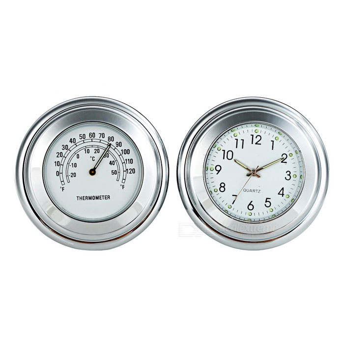Motorcycle Handlebar Clock + Thermometer Set for Harley & More - White