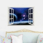 Creative 3D View Window PVC Removable Wall Art Sticker - Dark Blue