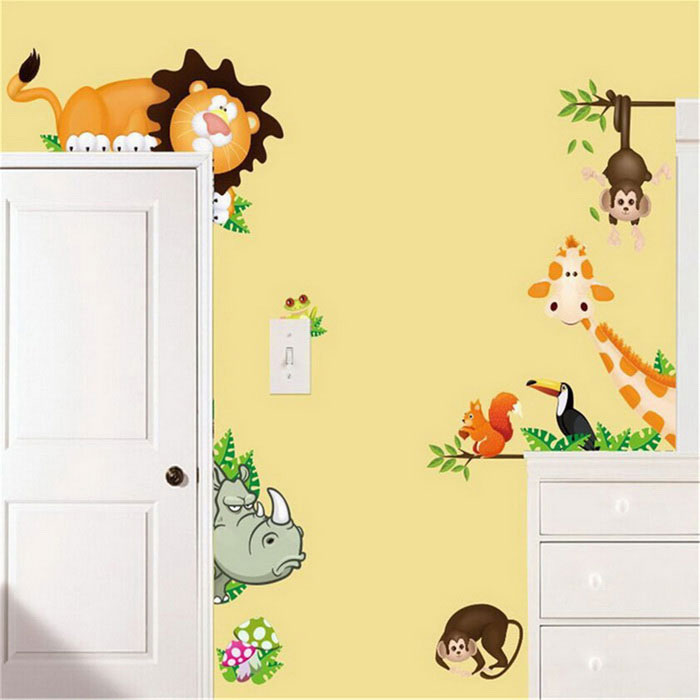 Elephant Lion Monkey Giraffe DIY Wall Decal Stickers - Multicolor