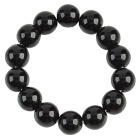14mm Agate Beads Bracelet - Black